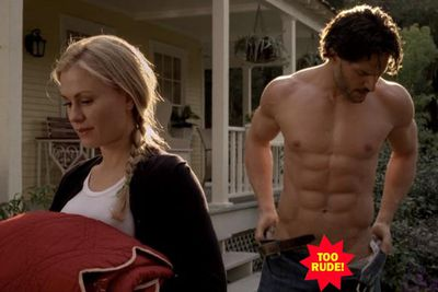 <b>Why is he naked? </b>One, he's Joe Manganiello and he looks like <i>that</i>. Two, he's a werewolf and we can't have ruining a pair of perfectly good jeans while transforming.