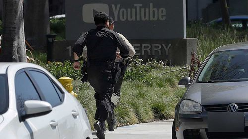 Police in Northern California have responded the shooting at YouTube headquarters in the city of San Bruno. (AP Photo/Jeff Chiu)