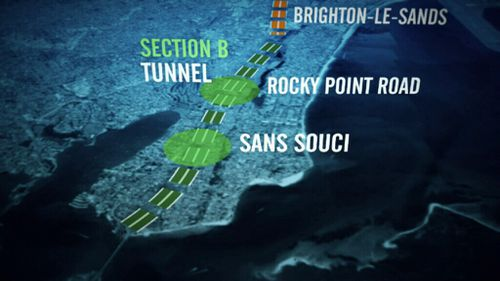 Section B of the motorway would run below Sans Souci. (9NEWS)