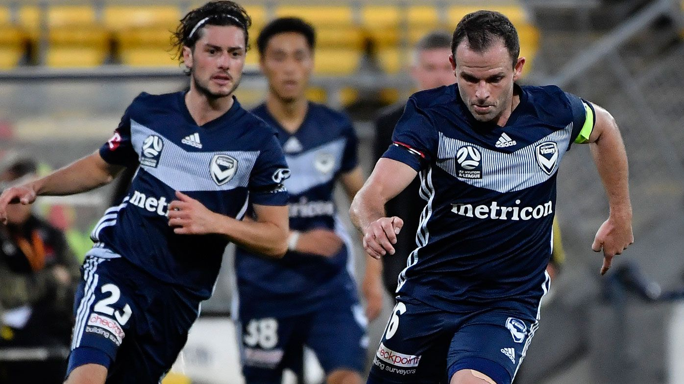 Leigh Broxham of Melbourne Victory during the round 23 A-League match against Wellington Phoenix