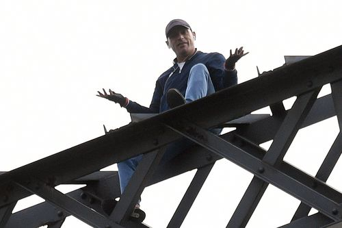 In April, Wayne Cook climbed the Sydney Harbour Bridge, stopping traffic for five and a half hours. Picture: AAP