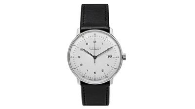 """<a href=""""http://www.mrporter.com/en-au/mens/junghans/max-bill-stainless-steel-and-leather-automatic-watch/536555""""> Max bill stainless steel and leather automatic watch, $2087, Junghans </a>"""