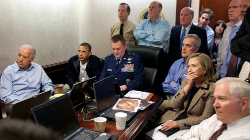President Barack Obama and others including Vice President Joe Biden and Secretary of State Hillary Clinton watch on during the raid on Osama bin Laden's compound. (AAP)