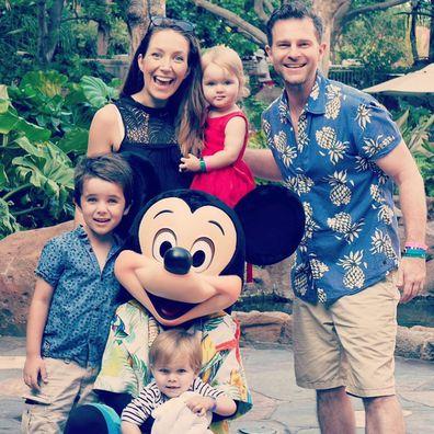 David Campbell and his family at Disneyland.