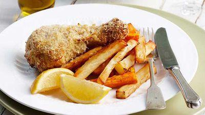 """Recipe:<a href=""""http://kitchen.nine.com.au/2016/05/16/12/07/crispy-lemon-chicken-drumsticks-and-chips-for-1280"""" target=""""_top"""">Crispy lemon chicken drumsticks and chips</a>"""