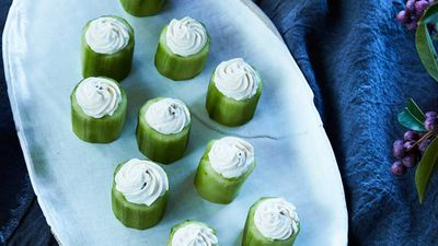 "Recipe: <a href=""http://kitchen.nine.com.au/2017/10/20/12/37/mark-best-cucumber-with-cream-cheese-and-miso-bites"" target=""_top"">Mark Best's sous vide cucumber with cream cheese and miso bites</a>"