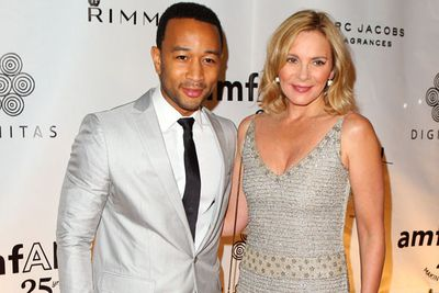 Musician John Legend and actress Kim Cattrall at Cinema Against AIDS Toronto in Toronto, Canada.