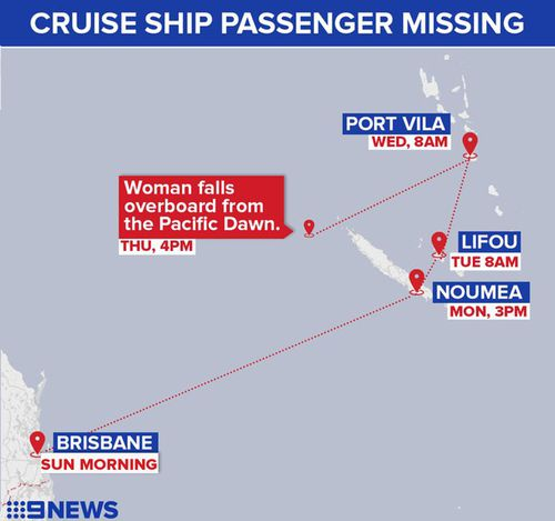 Ms Schofield fell from the Pacific Dawn west of New Caledonia. (9NEWS)