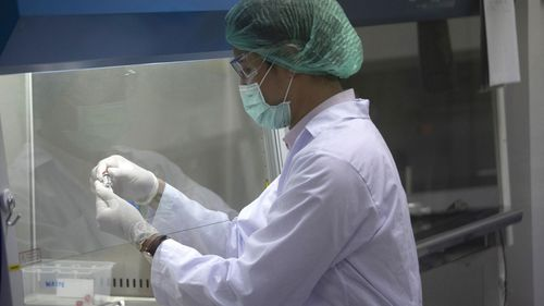 A lab technician holds a bottle containing results for COVID-19 vaccine testing at the National Primate Research Center, run by Chulalongkorn University in Saraburi Province, north of Bangkok, Saturday, May 23, 2020