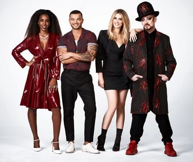 Kelly Rowland, Guy Sebastian, Delta Goodrem and Boy George on The Voice Australia