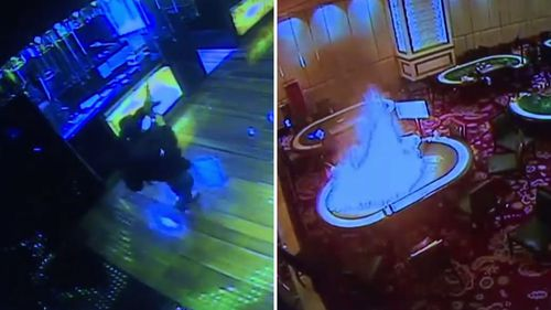 New footage has been released of the gunman firing shots into the air and setting fire to casino tables.