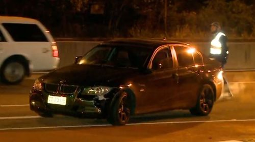 The black BMW first caught the attention of officers patrolling at Warriewood, just before 1am. Picture: 9NEWS