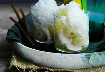 Coconut snow cones with young coconut and pineapple-ginger syrup