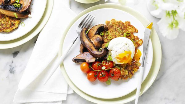 Zucchini fritters with portabella mushrooms and poached egg recipe by Australian Mushrooms