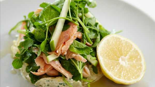 Manu's smoked rainbow trout, kipfler potato and watercress salad