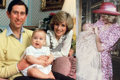 Years later, <b>Princess Di </b>would have a baby of her own: <b>Prince William</b>. On the left is a family portrait take at home in Kensington. On the right is William's christening, held in the music room of Buckingham Palace in August 1982.
