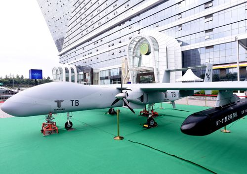 The Wing-Loong II Unmanned Aircraft System (UAS) was on display at an exhibition of the Global Drone Conference 2018 in Chengdu city, southwest China, last month.