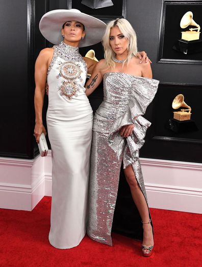 Jennifer Lopez and Lady Gaga arrive at the 61st Annual GRAMMY Awards at Staples Centre on February 10, 2019 in Los Angeles, California