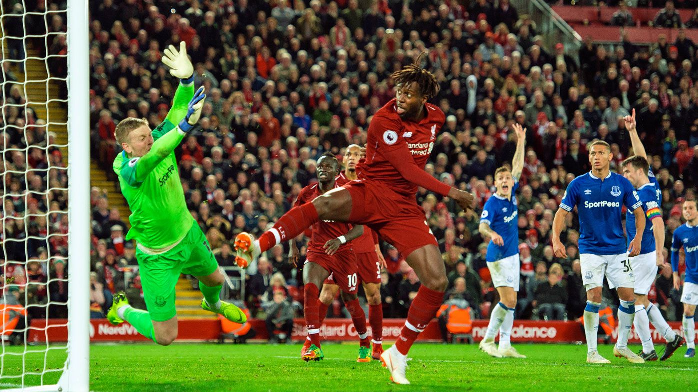 Origi snatches Merseyside derby win for Liverpool over Everton with bizarre goal