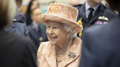 Queen Elizabeth II during a visit to Royal Air Force Marham, Norfolk official visit.