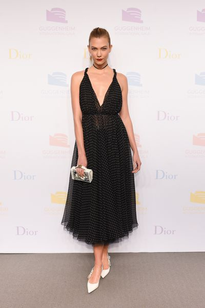 "Karlie Kloss at the Guggenheim International Gala supported by Dior on November 17, 2016. <span class=""Apple-tab-span"" style=""white-space: pre;"">	</span>"