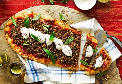 Middle Eastern-style pizza
