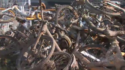 Bikes were among the objects removed from the river this week. (9NEWS)