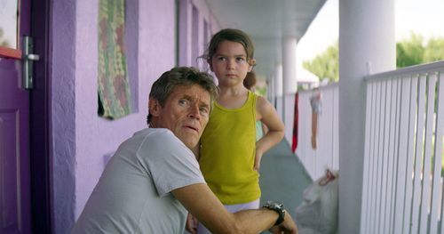 Willem Dafoe, left, and Brooklynn Prince in a scene from The Florida Project. (AAP)