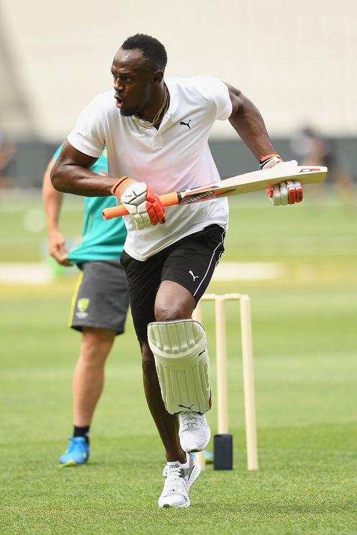 Track legend Usain Bolt trained with Australia at the Gabba earlier this week.