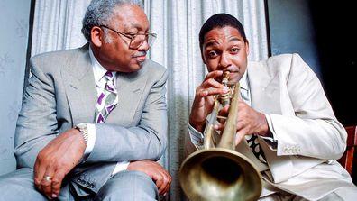 Portrait of American jazz musician Ellis Marsalis Jr (left) and his son, fellow musician Wynton Marsalis.
