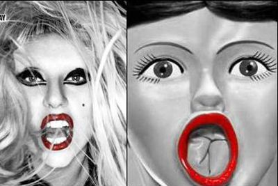 Scary but true. Those red lips, that open mouth...is Gaga a human or a blow up doll? <p><b>Image</b>: totallylookslike.com