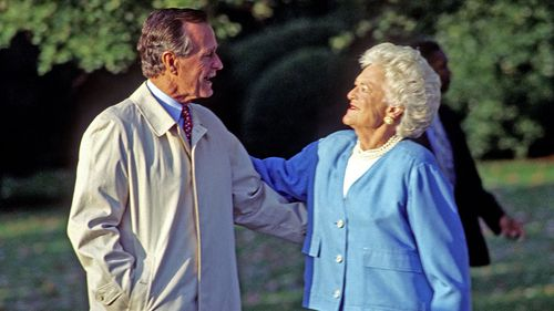 George HW Bush with wife Barbra when he was president in 1992.