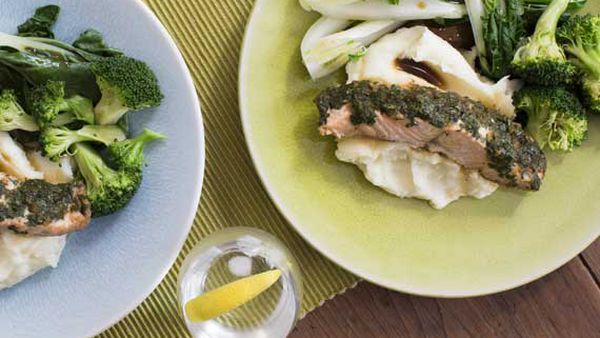 Zoe Bingley-Pullin's Asian baked salmon parcels with mash and greens