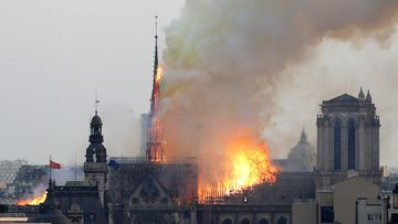 Notre Dame cathedral fire burning in Paris