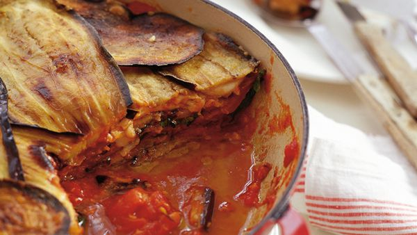 Neil Perry's eggplant parmigiana with tomato sauce and basil oil