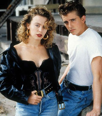 Kylie with co-star Charlie Schlatter in a promotional shot from the film <i>The Delinquents</i>.
