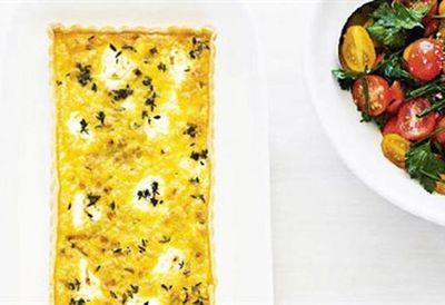 Leek, goat's cheese and thyme tart