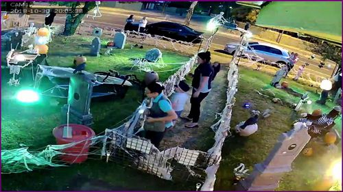 An Adelaide home known for its annual Halloween decorations in its front yard has become the target of thieves who were caught on CCTV camera.