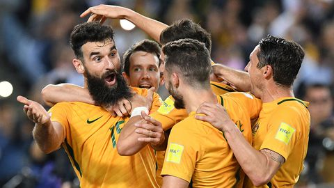 Australia's Mile Jedinak celebrates scoring a goal against Honduras.