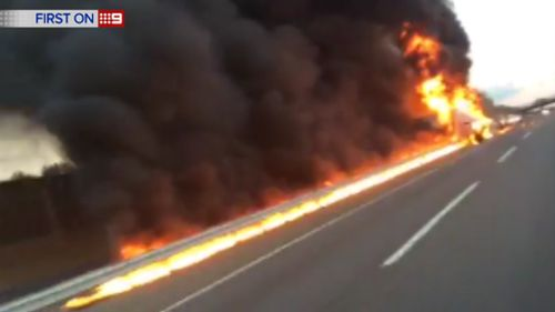 The trucks were continually exploding throughout the ordeal. (9NEWS)