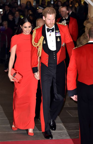 Duke of Sussex and Meghan, Duchess of Sussex arrive to attend the Mountbatten Music Festival at Royal Albert Hall