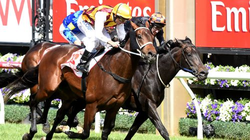 Preferment hits the line ahead of Bondeiger to win the Victoria Derby. (AAP)