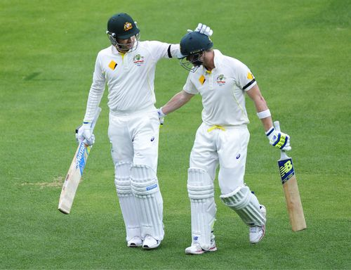 Michael Clarke and Steve Smith. (AAP)