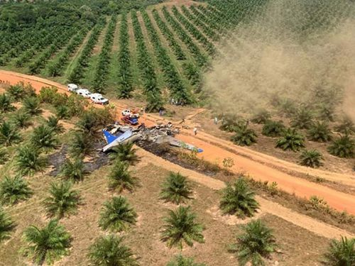 A plane accident in the village of La Bendicion, municipality of San Martin, Meta, Colombia, 09 March 2019. At least 12 people, including a minor, died when a DC-3 plane of the Laser airline crashed in a jungle area of the Colombian department of Meta.
