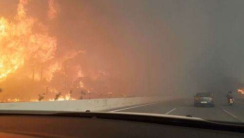 Dramatic footage is captured from a highway, which wasn't shut by the authorities. Picture: Giannis Labropoulos/Cover Images