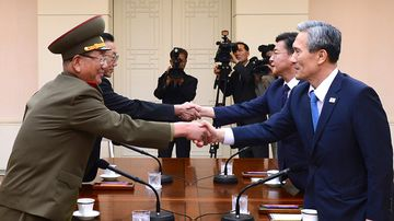 Senior North and South Korean officials meet at the border village of Panmanjom in August 2015. (AAP)