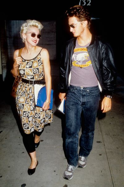 Madonna and ex-husband Sean Penn leave a rehearsal for their play<em> Goose and Tom Tom</em> in August 1986 in New York City