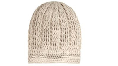 "<p><a href=""http://www.net-a-porter.com/product/460438/Madeleine_Thompson/maddy-cable-knit-cashmere-beanie"" target=""_blank"">Maddy cable-knit cashmere beanie, $201.70, Madeleine Thompson </a></p>"
