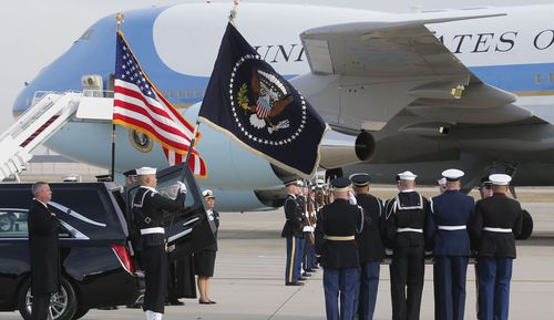 George HW Bush's casket was put on its final journey to Texas.