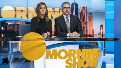 "This image released by Apple TV Plus shows Jennifer Aniston, left, and Steve Carell in a scene from ""The Morning Show."""